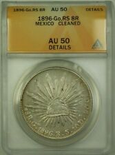 1896 Go,RS Mexico 8 Reales Coin ANACS AU 50 Cleaned