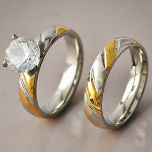 Wedding Ring Engagement Party Ring Set Crystal CZ Set Promise Lover Ring Size 6