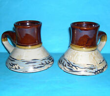 Studio pottery - Attractive Pair of Conical Bases Decorative Yachting Mugs.