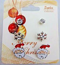 Santa Snowflake Earrings 3 Pairs Crystal Posts Christmas Jewelry