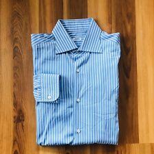 Barba Napoli Men's Blue w/ White Stripe Button Down Size 43/17