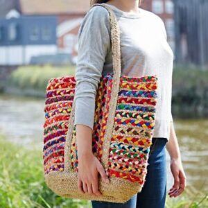 Fair Trade Cotton Jute Shopping Bag - Handmade Recycled Fabric