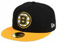 Boston Bruins Fitted 5950 New Era NHL Black/Yellow Cap Hat (Multiple Sizes)