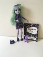 Monster High Twyla First Wave 13 Wishes Doll Pet Purse Diary Lot.