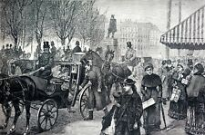 Christmas Shopping 1870 VICTORIAN CROWDS HORSE CARRIAGE GIFTS Antique Art Print