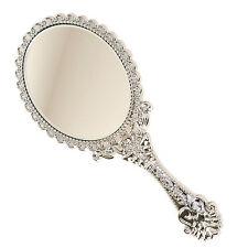 Girls Vintage Style Mini Vanity Hand Held Mirror Cute Princess Gift Silver Small