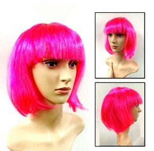 Ladies Unisex Pink Short Bob Fashion Wig Fancy Dress Hen Party Cosplay Costume