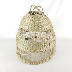 "Ikea Torared Pendant Basket Lamp Shade Seagrass/Handmade 14""  New"