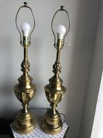 Vintage MCM Pair Of Brass Stiffel Hollywood Regency PortabLe Lamps