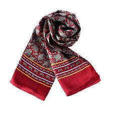 Long Silk Scarf for Men Red Theme Paisley Pattern SFM022