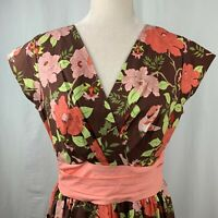 Folter Modcloth Floral Swing Dress M Brown Pink Wrap Top Circle Skirt