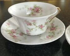 Set Of 2 Theodore Haviland Limoges Cup & Saucer Set Pink Daisy Gold trim France