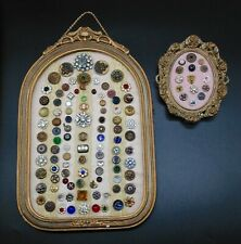 Vintage Antique RARE BUTTONS COLLECTION framed lot of 114 glass metal rhinestone