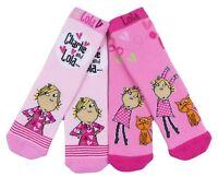 Girls Slipper socks Charlie and Lola 2 Pair Pack sizes 3-5.5 6-8.5 9-12