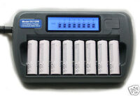 8 Slot 8 Bank DC1208 Fast LCD Battery Charger AA AAA NiMH NiCd 8 bay Refresh
