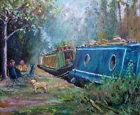 Canal boats dog pet narrow river Thames countryside original oil painting