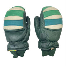 Vintage Kombidown Winter Leather Mittens Green Small Snowboard Snowmobile Snow