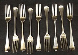9 Antique 1799 English Sterling Gilt Silver Georgian Heraldic Forks W. SUMNER