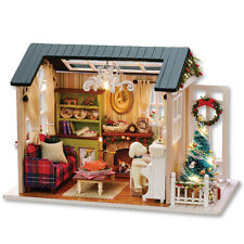Kits Wood Dollhouse Miniature DIY House Room with Furniture Gift Holiday Time