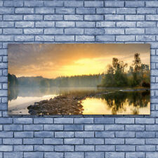 Print on Glass Wall art 140x70 Picture Image Lake Stones Forest Landscape