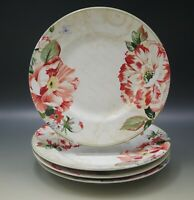 222 FIFTH RAWLINGS PATTERN FLORAL PEONIES SET OF 4 SALAD PLATES