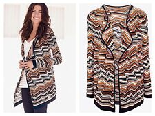 Kaleidoscope Sz 10 12 Black Orange Multi Glitter Waterfall CARDIGAN Winter Xmas
