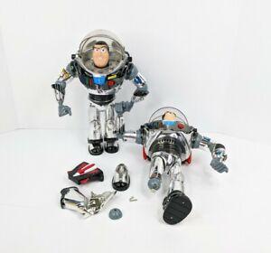 1995 Disney Chrome Silver Intergalactic Buzz Lightyear Figure Lot for Parts