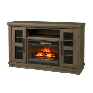 54 in. Media Console Tv Stand With Infrared Electric Fireplace, Remote Control