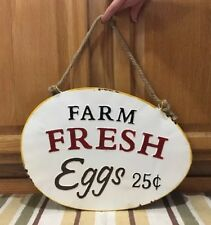 Farm Fresh Eggs Sign Metal Farm Country Decor Hanging Tractor Egg Rope