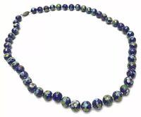 Estate Cobalt Blue Flower Style Murano Glass Vintage Beautiful Bead Necklace