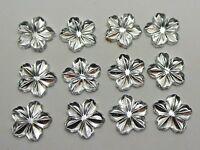 200 Clear Acrylic Flatback 3D Flower Rhinestone Cabochons 13mm DIY Embellishment