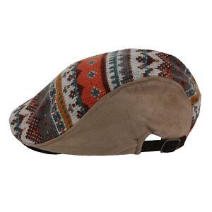 Tribal Knit Casual Newsboy Cabbie Golf Gatsby Church Cap Hat Mens Fall Winter