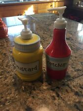 ***NEW Pier 1 Ketchup and Mustard Bottles Dishwasher Safe Microwaveable***