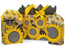Set of 3 Sunflower Fields kraft paper gift bags with tissue, gift tag, ribbon