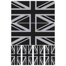 Union Jack Flag Black Silver Laminated Sticker Set Motorcycle Scopoter Vespa