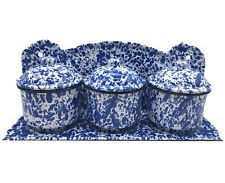 Enamelware Blue White Speckle Splatter Canister and Shelf Set, Farmhouse Style