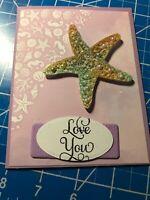 Anniversary Card Beach Starfish Pearls Glitter 3D Handmade