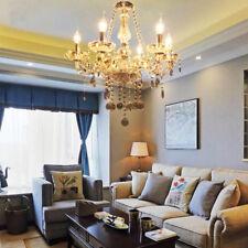 6 Arms Clear Crystal Lámpara Colgante Chandelier Light Techo Luces Dormitorio