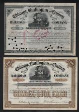 2 Stks Chicago. Burlington & Quincy  RR Brown 1884 & Black 1880   Classic Stocks