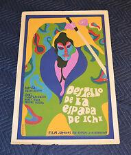 1969 Original Cuban Silkscreen Movie Poster.Zatoichi Sword.Psychedelic.Japan art