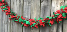 Christmas Winter Red And Green With Sparkle Mesh fabric rag Garland 5ft
