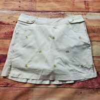 Larry Levine Skort Women's Size 14 White Skirt Shorts Bumble Bees Stretch