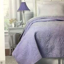 Nicole Miller Lavender Paisley  FULL/QUEEN Velvet Quilt Coverlet Girls Kids NEW