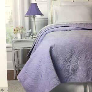 Nicole Miller Lavender Paisley TWIN Velvet Quilt Coverlet Girls Kids Purple NEW