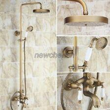 Vintage Antique Brass Rain Bathroom Shower Faucet Set Bath Tub Mixer Taps nrs165