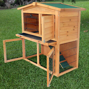 """40""""A-Frame Wood Wooden Rabbit Hutch Small Animal House Pet Cage Chicken Coop New"""