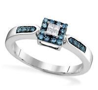10K White Gold Blue & White Diamond Ring Square Cluster Diamond Band .25ct