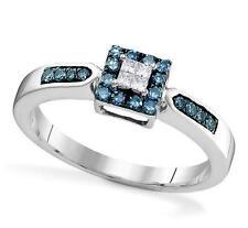 Blue & White Diamond Ring 10K White Gold Square Cluster Diamond Ring .25ct