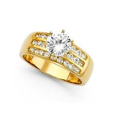 Solitaire CZ Engagement Ring 14k Yellow Gold Anniversary Round CZ Wide Band Ring