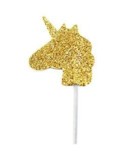 12 Glitter Unicorn Cupcake Toppers Gold